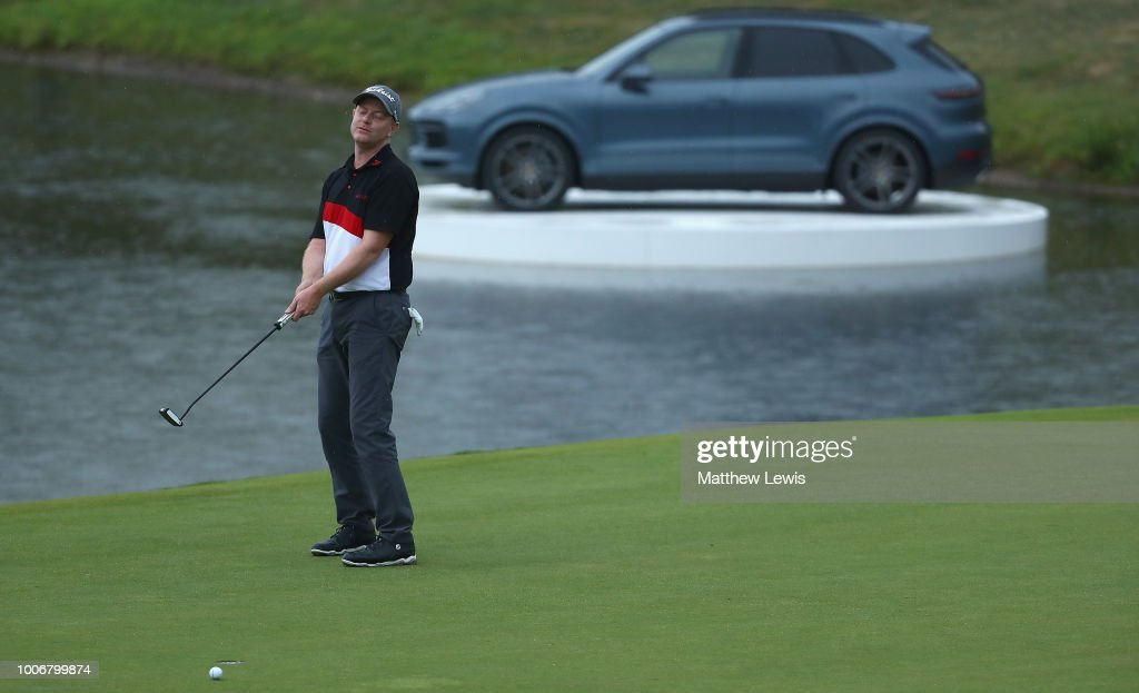 Richard McEvoy of England looks on after missing a putt on the 18th green during day three of the Porsche European Open at Green Eagle Golf Course on July 28, 2018 in Hamburg, Germany.