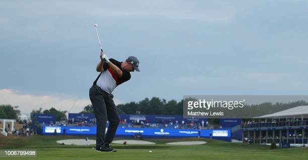 Richard McEvoy of England plays his second shot from the 18th fairway during day three of the Porsche European Open at Green Eagle Golf Course on...
