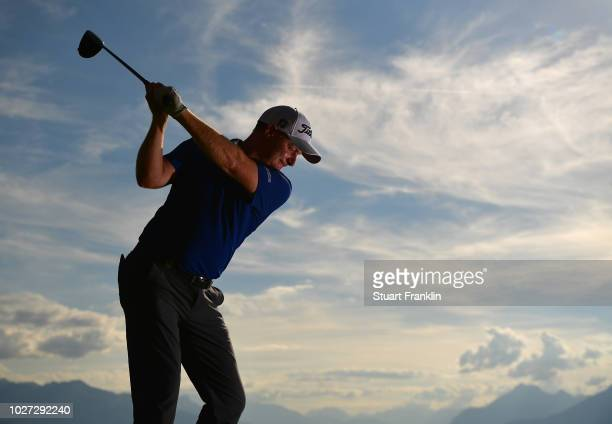 Richard McEvoy of England poses for a picture during the pro am prior to the start of the Omega European Masters at CranssurSierre Golf Club on...