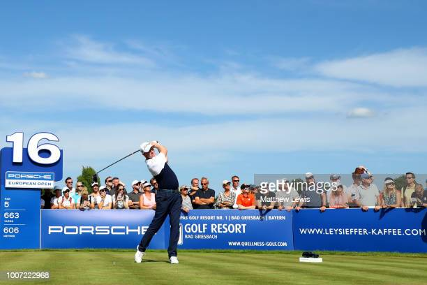 Richard McEvoy of England tees off on the 16th hole during the final round of the Porsche European Open at Green Eagle Golf Course on July 29 2018 in...