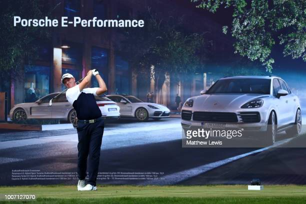 Richard McEvoy of England tees off on the 5th hole during the final round of the Porsche European Open at Green Eagle Golf Course on July 29 2018 in...