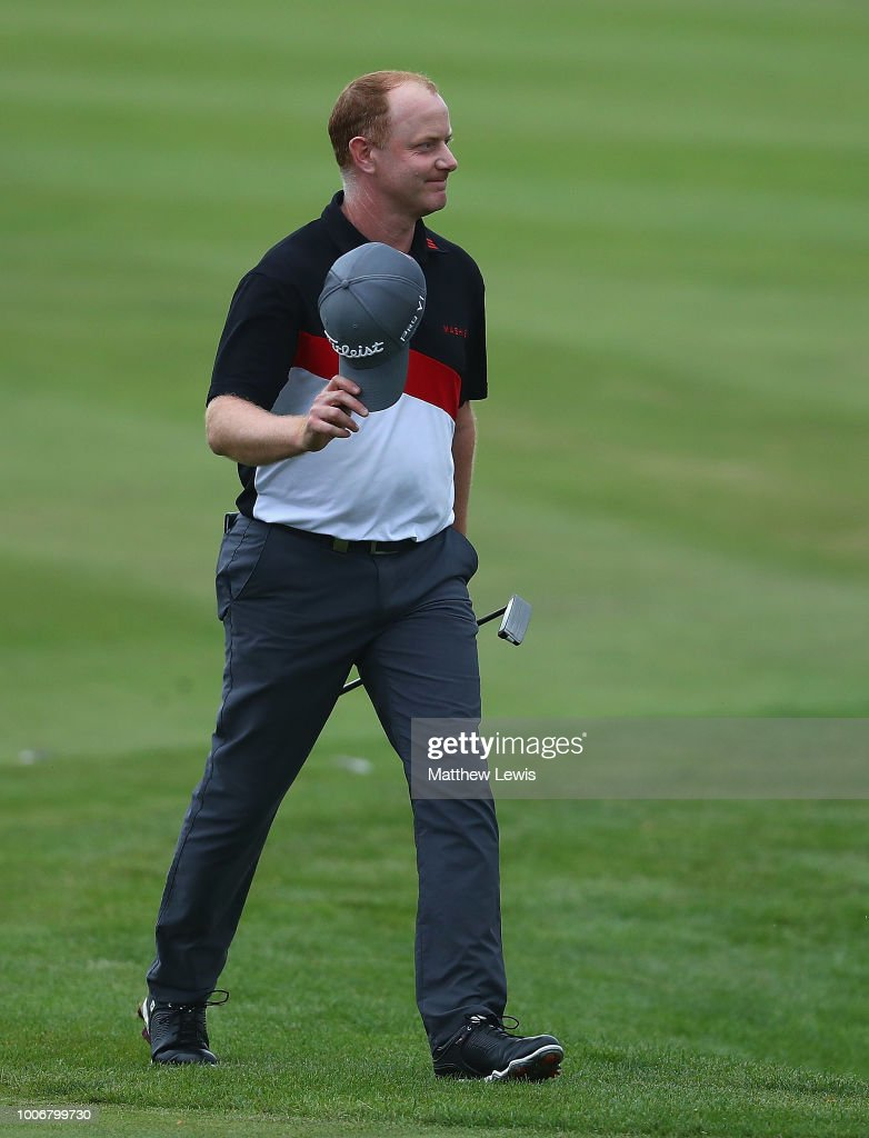 Richard McEvoy of England walks down the 18th fairway during day three of the Porsche European Open at Green Eagle Golf Course on July 28, 2018 in Hamburg, Germany.