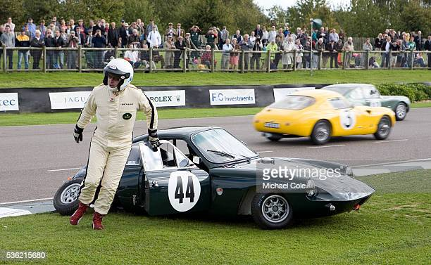 Richard Meins leaves the 1963 Deep Sanderson 301 Coupe after a back axle collapse during the Fordwater Trophy Race