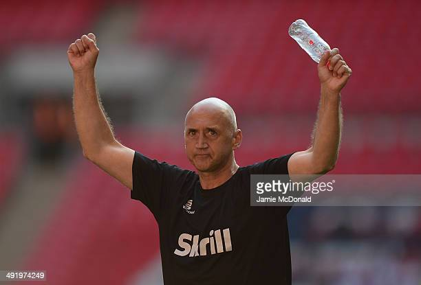 Richard Money of Cambridge United lifts the Trophey during the Skrill Conference Premier PlayOffs Final between Cambridge United and Gateshead FC at...