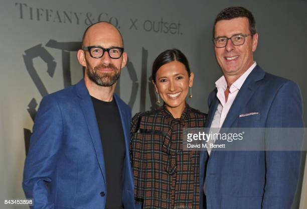 Richard Moore Hikari Yokoyama and Barratt West Managing Director at Tiffany Co attend The 2017 Tiffany Co and Outset Studiomakers Prize at The Vinyl...