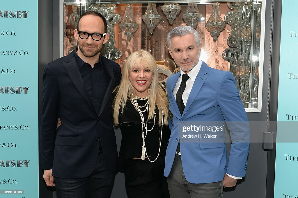 Richard Moore, Vice President Creative & Visual Merchandising at Tiffany & Co., Catherine Martin, Academy Award winning costume and production designer and Baz Luhrmann, director/producer/co-writer of 'The Great Gatsby' attend the unveiling of Tiffany's Fifth Avenue windows celebrating Jazz Age glamour, evoking the spirit of Baz Luhrmann's highly anticipated adaptation of 'The Great Gatsby' on April 17, 2013 in New York City.