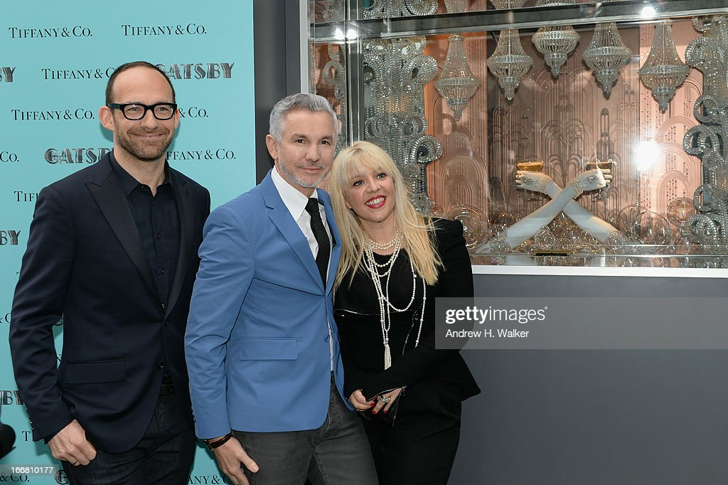 Richard Moore, Vice President Creative & Visual Merchandising at Tiffany & Co., Baz Luhrmann, director/producer/co-writer of 'The Great Gatsby' and Catherine Martin, Academy Award winning costume and production designer attend the unveiling of Tiffany's Fifth Avenue windows celebrating Jazz Age glamour, evoking the spirit of Baz Luhrmann's highly anticipated adaptation of 'The Great Gatsby' on April 17, 2013 in New York City.