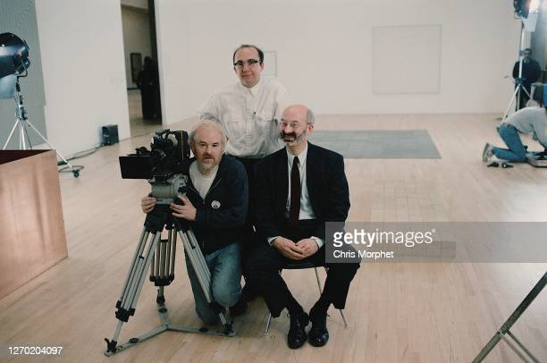 Richard Morphet, Keeper of The Modern Collection at the Tate Gallery, Mark James director stands behind, Chris Morphet cameraman with Aaton 16 film...