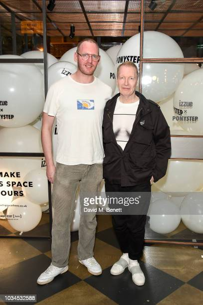 Richard Mortimer and Iain R Webb attend the Izzue x Ponystep London Fashion Week party at Mare Street Market on September 16 2018 in London England