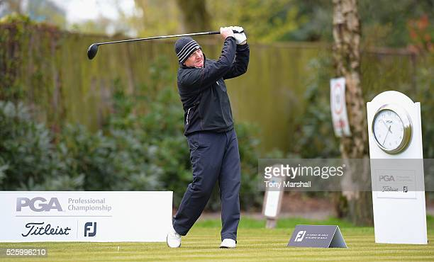 Richard Mudge of Daventry and District Golf Club plays his first shot on the 1st tee during the PGA Professional Championship Midland Qualifier at...