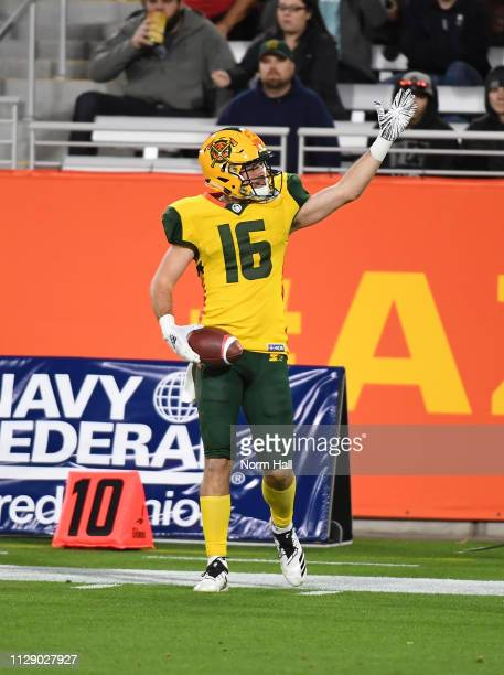 Richard Mullaney of the Arizona Hotshots signals for a first down after catching a pass against the Salt Lake Stallions during the Alliance of...
