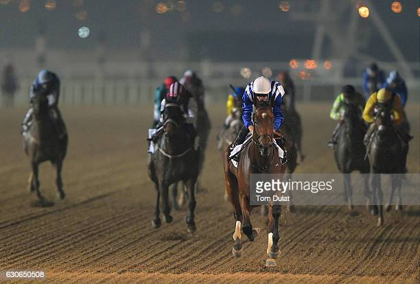 Richard Mullen riding North America on his way to victory during the EGA Potlines Trophy race at Meydan on December 29 2016 in Dubai United Arab...