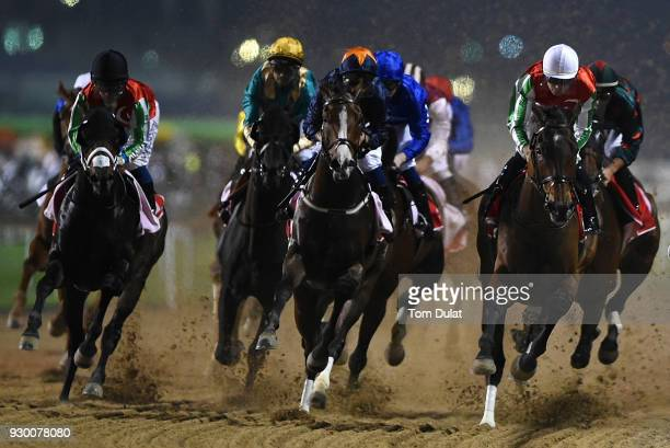 Richard Mullen riding North America on his way to winning the Al Maktoum Challenge during Dubai World Cup Carnival Races at the Meydan Racecourse on...