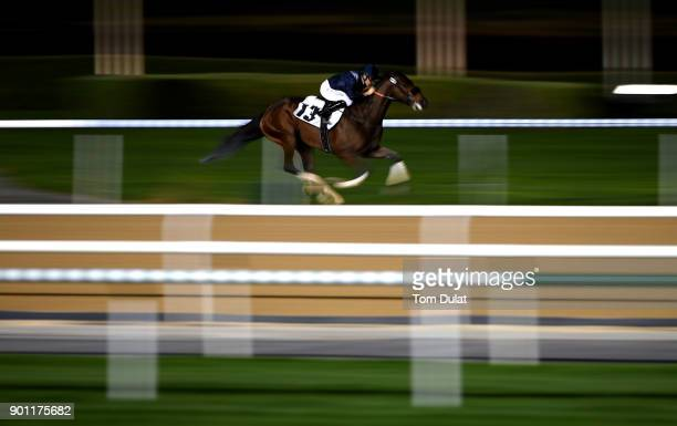 Richard Mullen riding Storyboard wins the District One Cycling Running Track race during the Meydan Races at the Meydan Racecourse on January 4 2018...