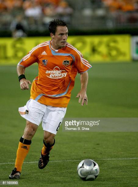 Richard Mulrooney of the Houston Dynamo dribbles a ball against the Colorado Rapids on May 10, 2008 at Robertson Stadium in Houston, Texas.