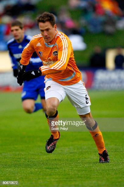 Richard Mulrooney of the Houston Dynamo runs against the Kansas City Wizards during the game at Community America Ballpark on April 12 2008 in Kansas...