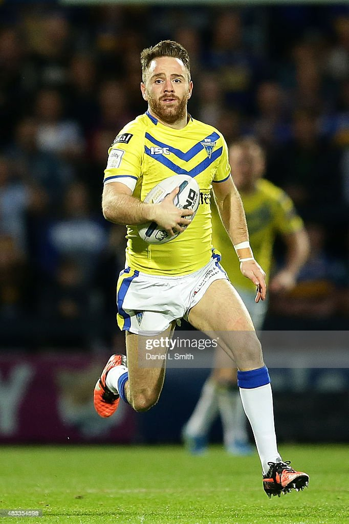 Richard Myler of Warrington Wolves runs with the ball during the Round 1 match of the First Utility Super League Super 8s between Leeds Rhinos and Warrington Wolves at Headingley Carnegie Stadium on August 7, 2015 in Leeds, England.