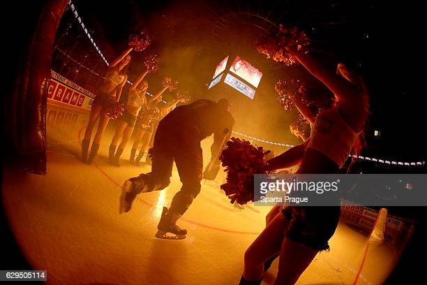 Richard Nedomlel of HC Sparta Prague steps on the ice before the Champions Hockey League Quarter Final match between Sparta Prague and SC Bern at O2...