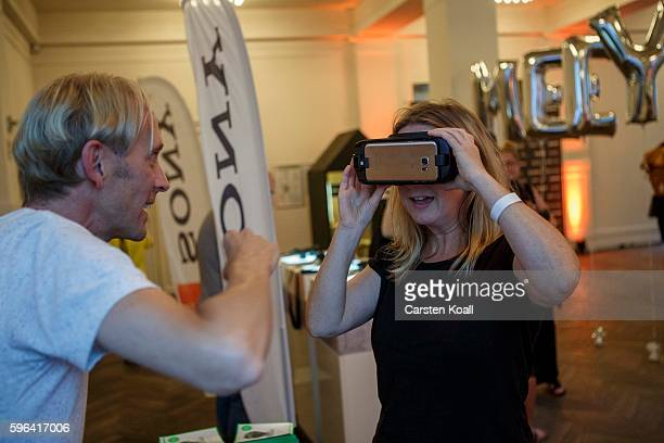 Richard Newstead of Getty Images stays on the stand during the EyeEm photofestival at Heimathafen Neukoelln on August 27 2016 in Berlin Germany