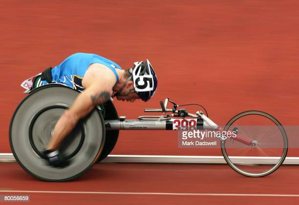 Richard Nicholson of the ACT wins the Mens 800 Metres wheelchair final during day two of the 2008 Australian Championships at the Queensland Sport...