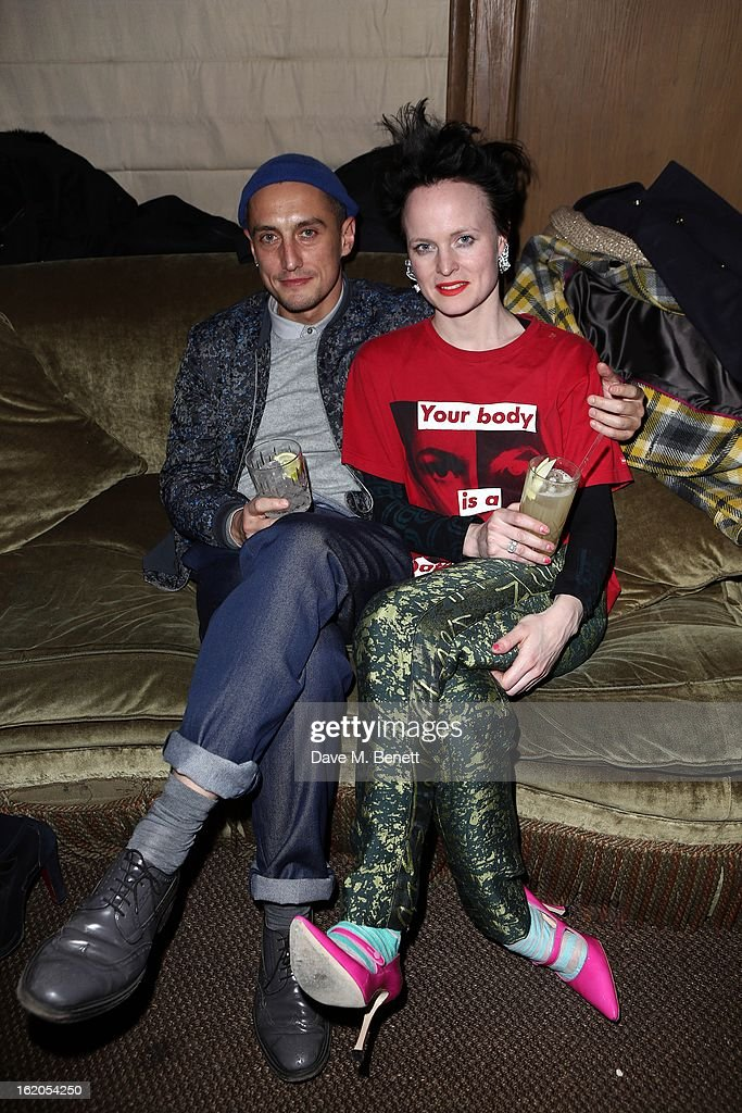 Richard Nicoll (L) and Louise Gray attend the Richard Nicoll and Louise Gray after party at Soho House on February 18, 2013 in London, England.