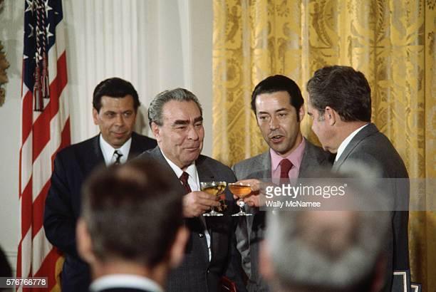 Richard Nixon and Leonid Brezhnev in a Toast