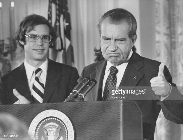 Richard Nixon gives the thumbs up as he addresses the White House staff upon his resignation as 37th President of the United States Washington DC 9th...