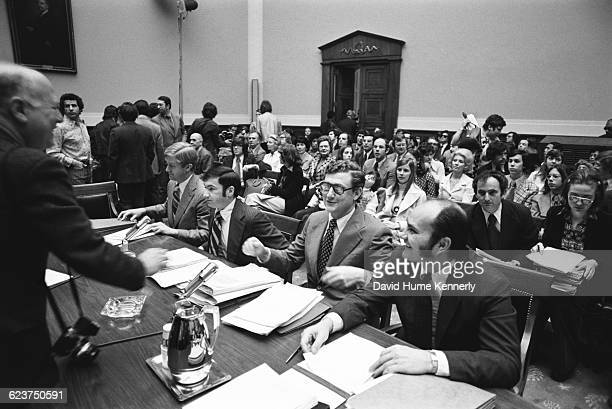 Richard Nixon impeachment Judiciary Committee hearing on Capitol hill on April 25 1974 Attorney Hillary Rodham is seated on the far right and next to...