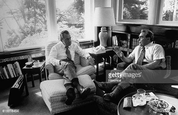 Richard Nixon meets with Premier Brezhnev in the library of the Nixon home at San Clemente California
