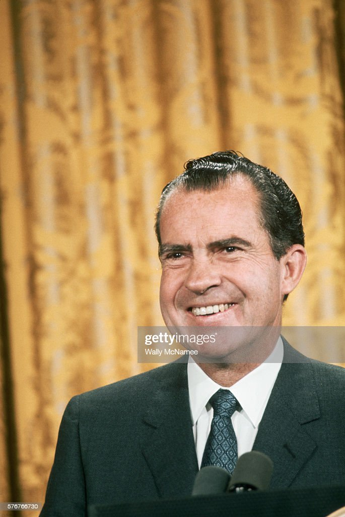 Richard Nixon, newly sworn in as President, looks confident and relaxed.