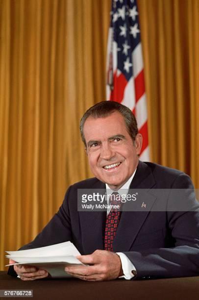 Richard Nixon Preparing to Give Speech
