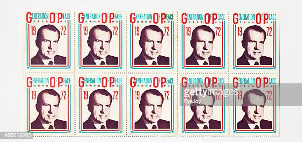 richard nixon presidential campaign stickers - presidential election stock pictures, royalty-free photos & images