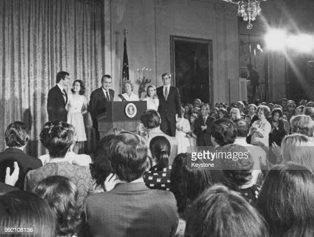 Richard Nixon receives a standing ovation from the staff at the White House upon his resignation as 37th President of the United States, Washington,...