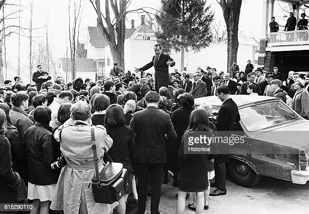 Richard Nixon stands on a car and speaks to the crowd on was the 37th president of the United States and was pressured to resign when the details of...