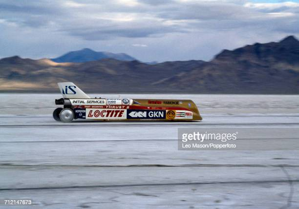 Richard Noble of Great Britain attempts to set a land speed record in the jet propelled car Thrust2 at Bonneville Salt Flats near Wendover Utah USA...