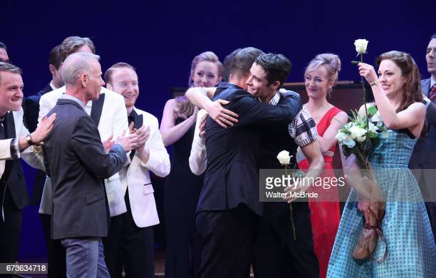 Richard Oberacker Robert Taylor Corey Cott Laura Osnes and cast during the Broadway opening night curtain call bows of 'Bandstand' at the Bernard B...