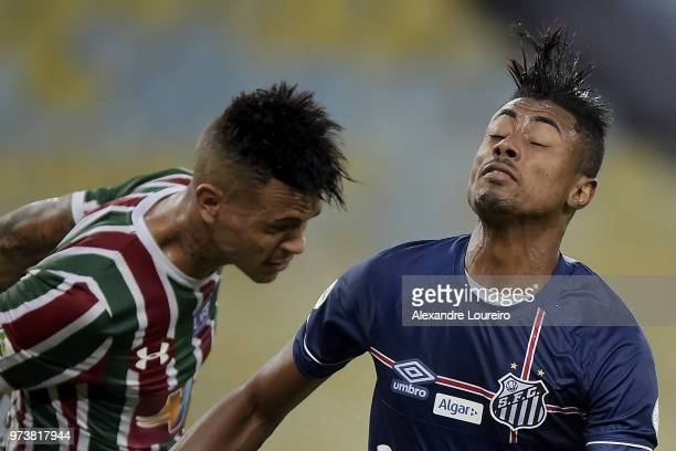 Richard of Fluminense and Bruno Henrique of Santos in action during the match between Fluminense and Santos as part of Brasileirao Series A 2018 at...