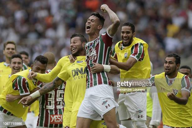 Richard of Fluminense celebrates their first scored goal during the match between Fluminense and AmericaMG as part of Brasileirao Series A 2018 at...