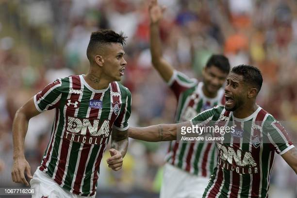 Richard of Fluminense celebrates with Kayke after scoring the first goal of his team during the match between Fluminense and AmericaMG as part of...