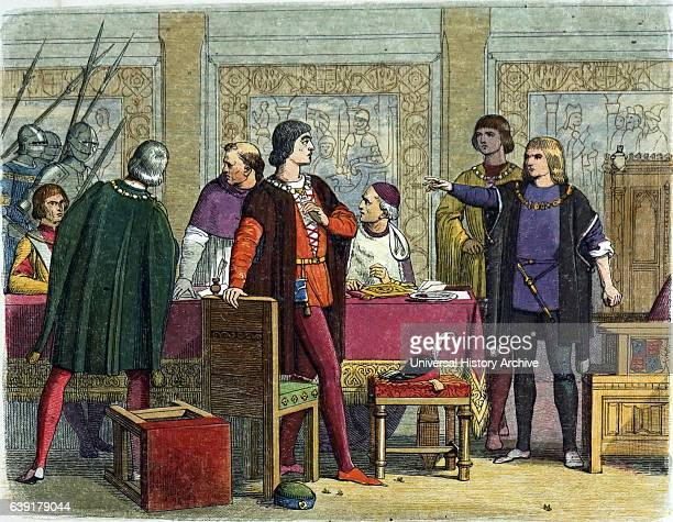 Richard of Gloucester King of England 14831485 ordering the arrest of William Hastings 1st Baron Hastings on the charge of treason