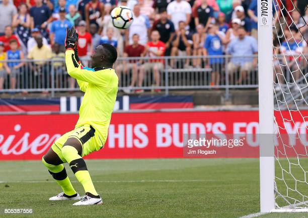 Richard Ofori of Ghana allows a goal by Dom Dwyer of the United States in the first half during an international friendly between USA and Ghana at...