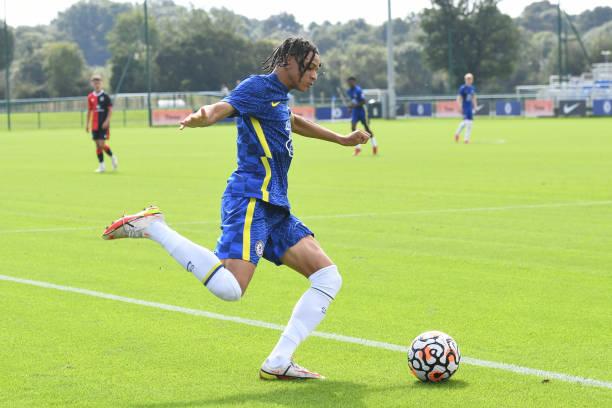 Richard Olise of Chelsea shoots for goal during the Chelsea v Blackburn Rovers U18 Premier League Cup Group D on September 18, 2021 in Cobham,...