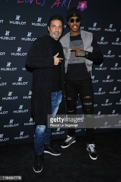 Richard Orlinski and Presnel Kimpembe attend the Hublot Loves Art Party At Fondation Louis Vuitton on December 16 2019 in Paris France