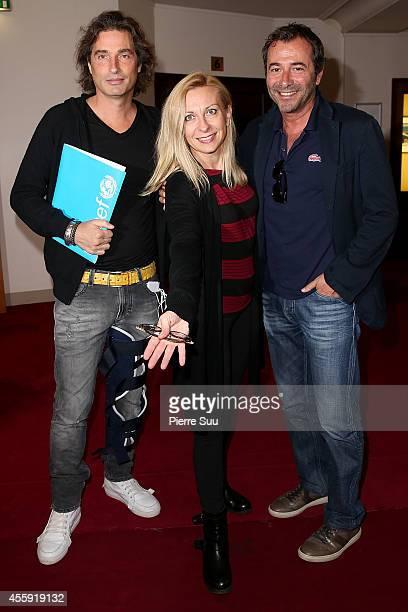 Richard Orlinski Natalie Dessay and Bernard Montiel attend the 'Frimousses de Createurs 2014' Press Conference at Theatre du Chatelet on September 22...