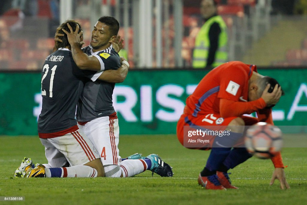 Richard Ortiz of Paraguay celebrates after scoring the third goal his team during a match between Chile and Paraguay as part of FIFA 2018 World Cup Qualifiers at Monumental Stadium on August 31, 2017 in Santiago, Chile.