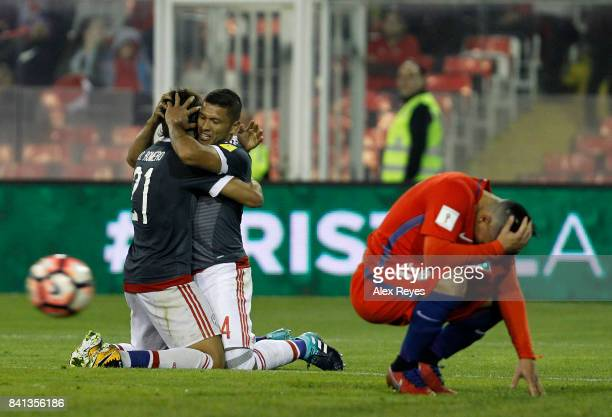 Richard Ortiz of Paraguay celebrates after scoring the third goal his team during a match between Chile and Paraguay as part of FIFA 2018 World Cup...