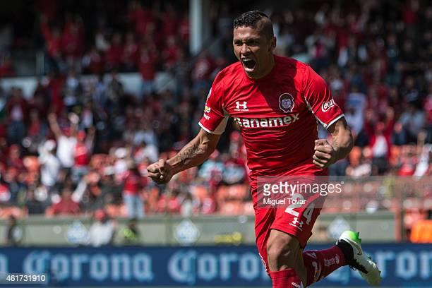 Richard Ortiz of Toluca celebrates after scoring during a match between Toluca and Chiapas as part of 2nd round Clausura 2015 Liga MX at Nemesio Diez...