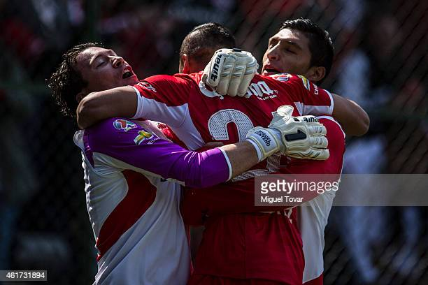 Richard Ortiz of Toluca celebrates with teammates after scoring during a match between Toluca and Chiapas as part of 2nd round Clausura 2015 Liga MX...