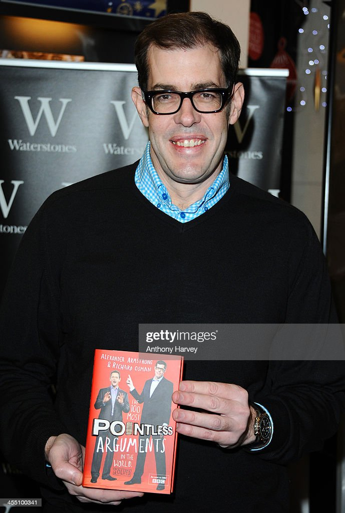 Richard Osman meets fans and sign copies of 'The 100 Most Pointless Arguments In The World' at Waterstones Leadenhall on December 11, 2013 in London, England.