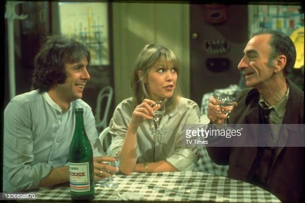 Richard O'Sullivan, Tessa Wyatt and David Kelly in charcter as Robin, Vicky and Albert on the set of sitcom Robin's Nest, circa 1979.